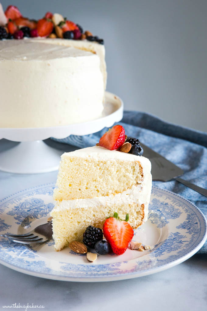 Slice of Almond Cream Cake with Fruit
