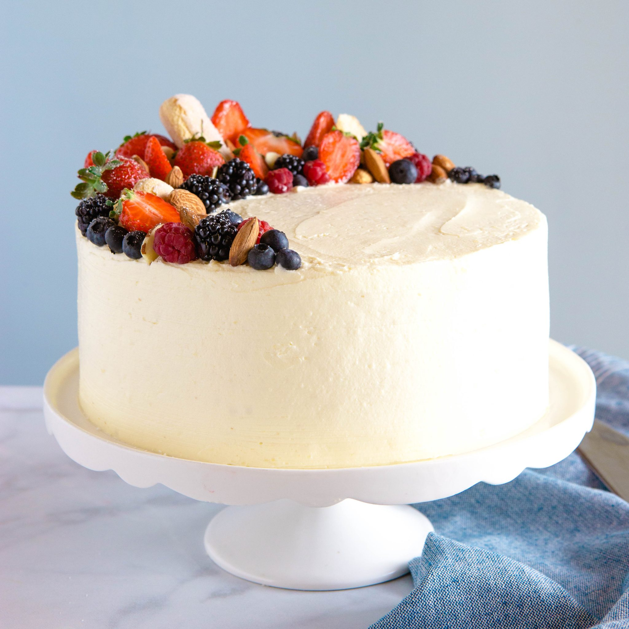 Best Ever Almond Cream Cake Easy Layer Cake The Busy Baker