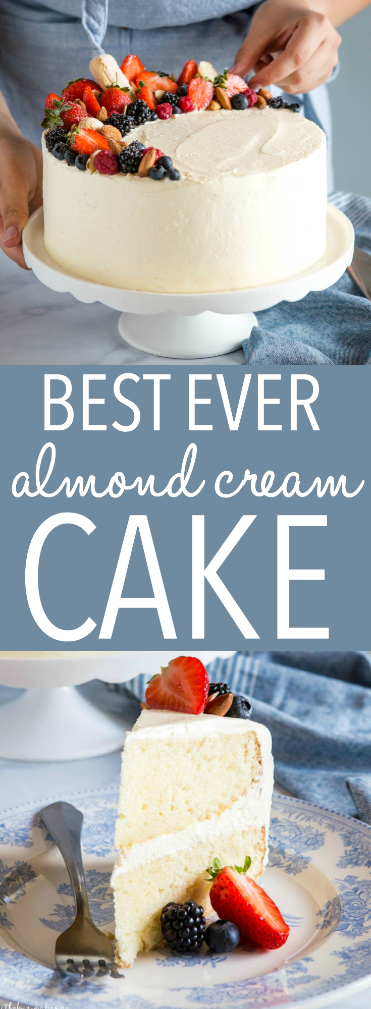 This Best Ever Almond Cream Cake is the perfect cake recipe for birthdays, holidays, or any celebration! A deliciously moist cake with the fluffiest and creamiest almond frosting you'll ever taste! Recipe from thebusybaker.ca! #almond #cake #creamy #frosting #fruit #fruitcake #birthday #celebration #christmas #holiday #buttercream #cakedecorating via @busybakerblog