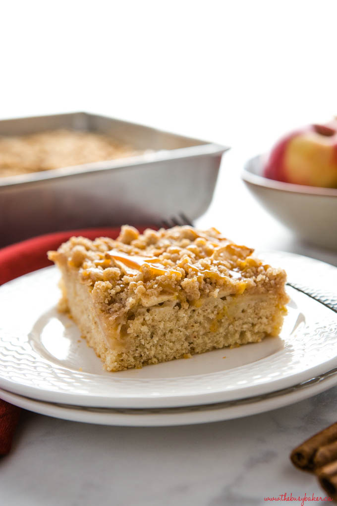 caramel apple streusel cake on white plate