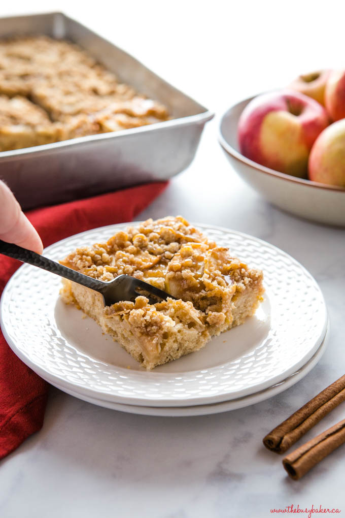 caramel apple streusel cake on plate with fork