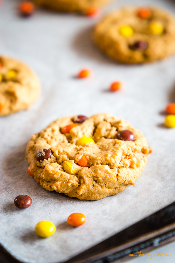 Peanut Butter Cookies on baking tray with parchment paper