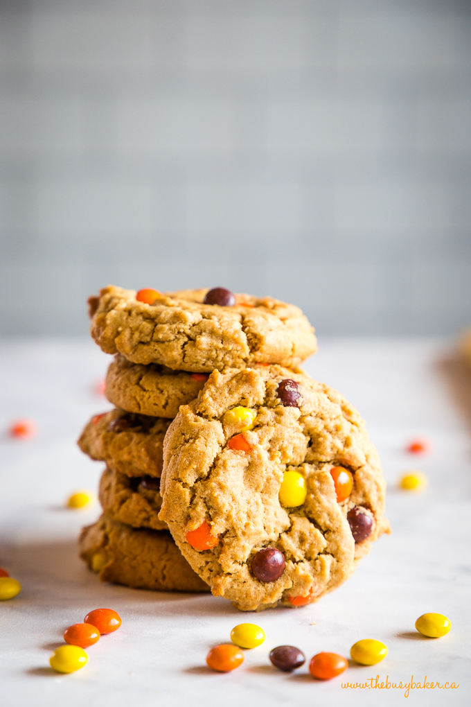 Peanut Butter Cookies in stack with Reese's Pieces