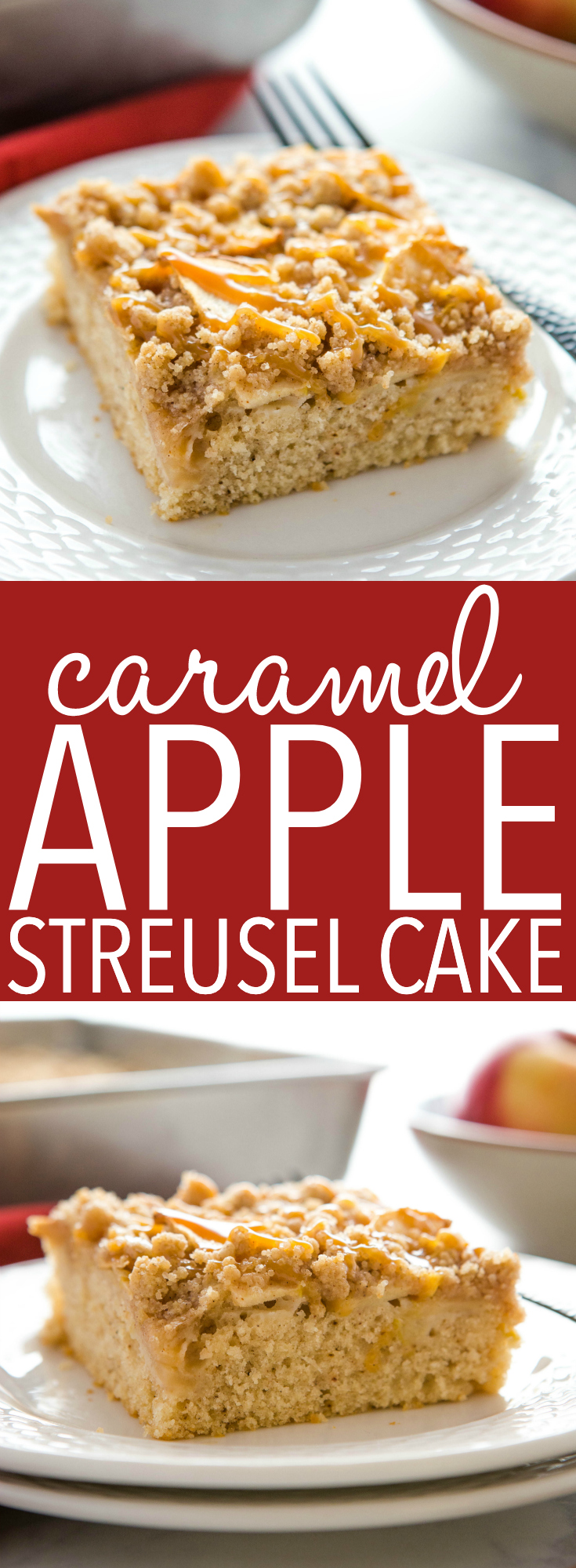 This Caramel Apple Streusel Cake is the perfect fall and winter dessert with an easy-to make tender cake base, fresh apples, and a delicious streusel topping, drizzled with caramel sauce! Recipe from thebusybaker.ca! #apple #cake #streusel #platz #german #caramel #fall #recipe #sheetcake #foodblog #dessert #sweet via @busybakerblog