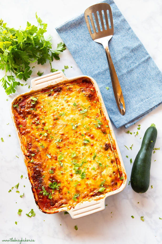 low carb lasagna with cheese and zucchini