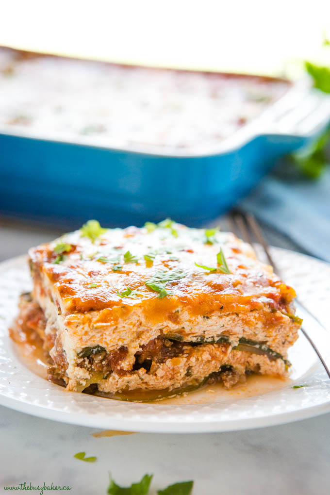 slice of low carb lasagna with zucchini