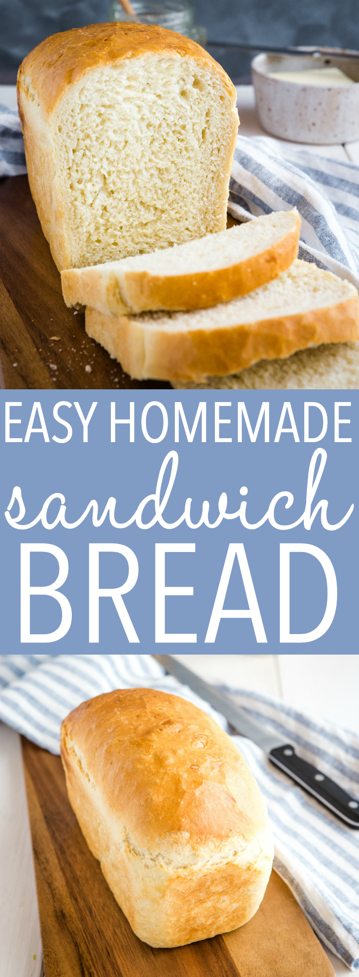 This Easy White Sandwich Bread is the easiest homemade bread recipe that's hearty and tender, and turns out perfectly every time with the best golden crust! Perfect for sandwiches or for dipping in soups or stews! Recipe from thebusybaker.ca! #bread #sandwich #homemadebread #homemade #recipe #baking #easy #simple #homesteading #canning via @busybakerblog