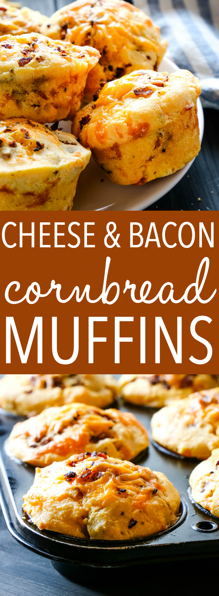 These Cheddar Cheese and Bacon Cornbread Muffins make the perfect snack or side dish for fall! Perfectly savoury and perfect with soup, stews, and for the holidays! Recipe from thebusybaker.ca! #muffins #cornbread #cornmeal #corn #fall #winter #soup #stew #bacon #cheese #savory via @busybakerblog