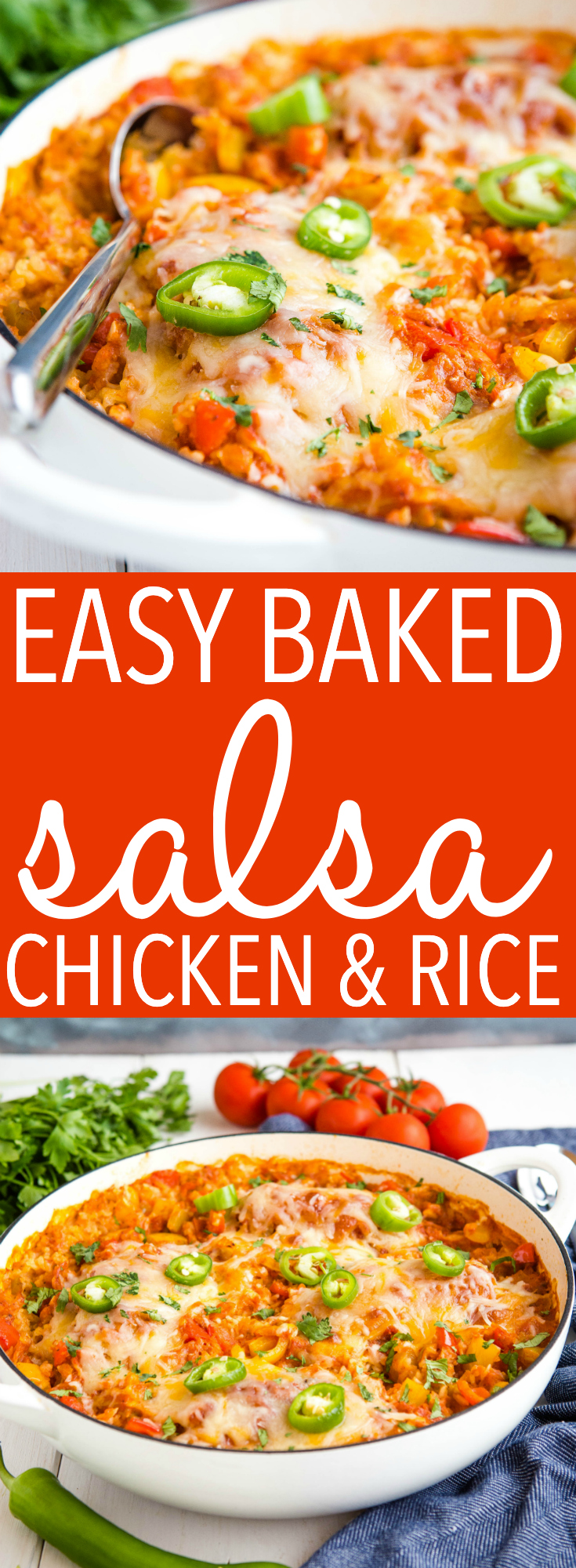 This Easy Baked Salsa Chicken and Rice is a super easy Mexican-inspired weeknight meal made in only one pan! On the table in about 30 minutes! Recipe from thebusybaker.ca! #salsa #chicken #rice #onepan #onepot #meal #mealprep #mealplanning #weeknightmeal #familymeal #family #glutenfree via @busybakerblog