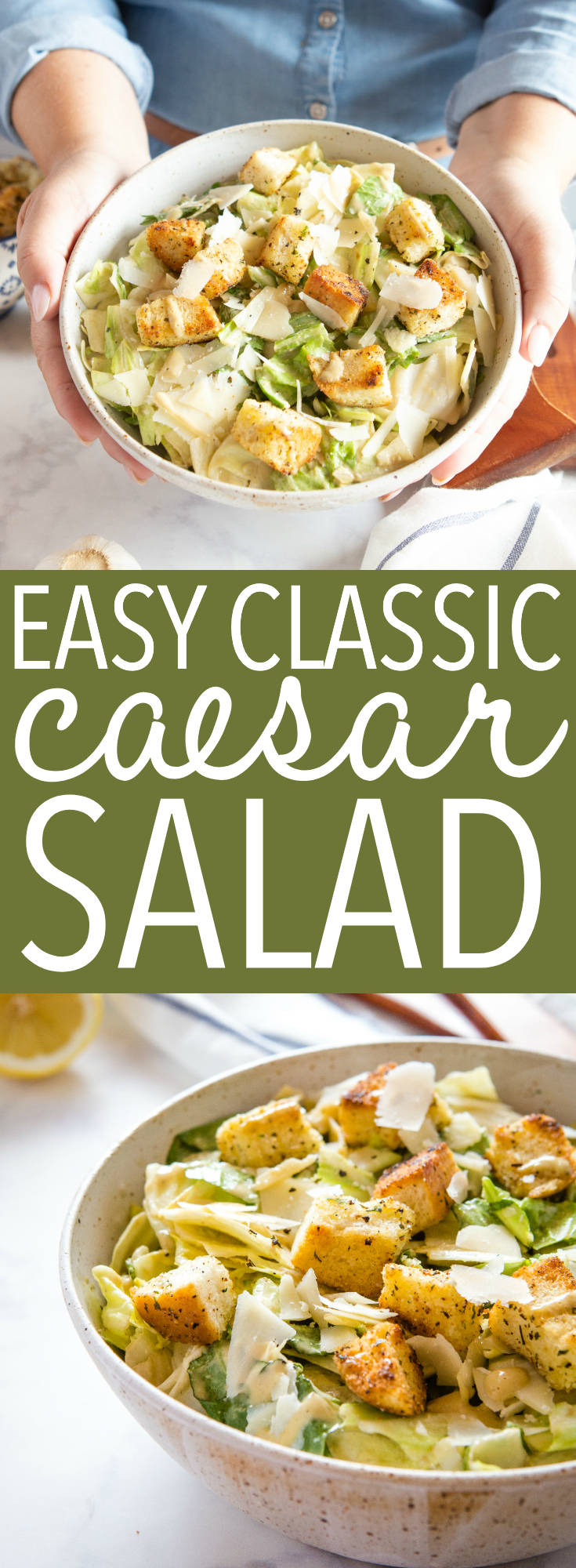 This Easy Caesar Salad recipe creates a restaurant-quality salad made simple with an easy blender dressing, shaved Parmesan, and homemade croutons! Recipe from thebusybaker.ca! #caesarsaladrecipe #holidays #saladrecipe #specialoccasion via @busybakerblog