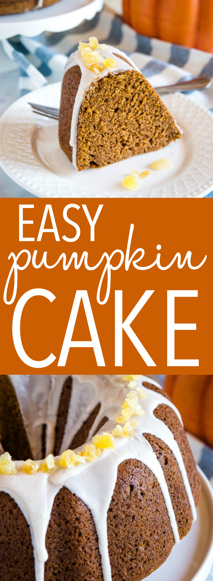This Easy Pumpkin Bundt Cake is the perfect simple cake for fall! It's so moist and perfectly dense, with the easiest sweet glaze! Recipe from thebusybaker.ca! #cake #pumpkin #bundtcake #easy #recipe #fall #winter #thanksgiving #baking #homemade via @busybakerblog