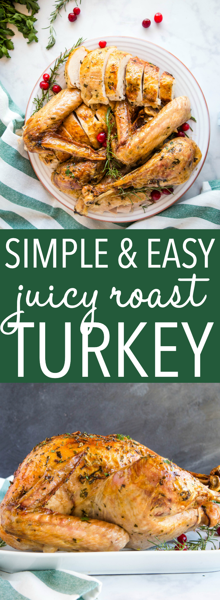 This roasted turkey recipe is the perfect way to make it for Thanksgiving or Christmas. Use my no-fail tips for delicious juicy turkey every time! Recipe from thebusybaker.ca! #thanksgiving #roastedturkeyrecipe #juicyturkey #christmas #dinner #nofail #holidaytable via @busybakerblog