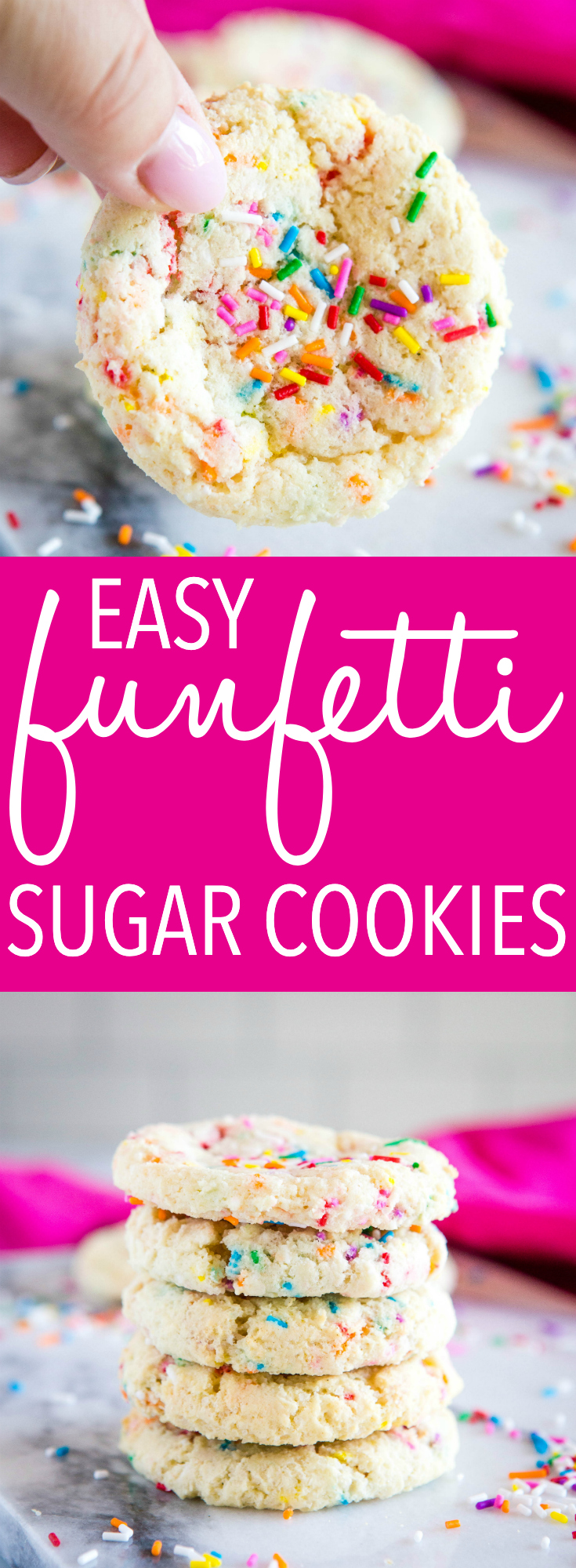 These Easy Funfetti Sugar Cookies are the perfect birthday cake-inspired sugar cookies with sprinkles - no chilling, rolling or cutting required! Recipe from thebusybaker.ca! #sugarcookies #cookies #dropcookies #dessert #sweet #treat #kidfriendly #sprinkles #sprinklecookies via @busybakerblog