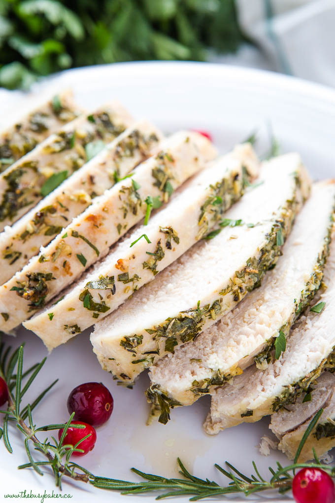 Sliced Roast Turkey Breast with cranberries
