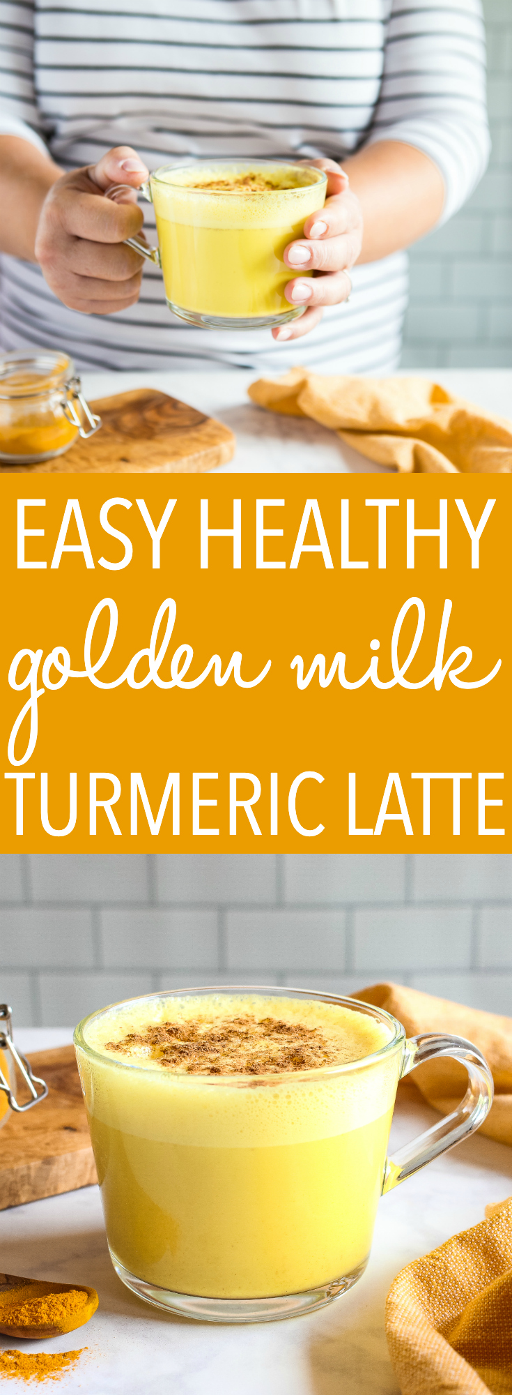 This recipe for Golden Milk Latte with Turmeric is the perfect warm drink with antioxidants. Make it with milk & honey, or low carb and vegan! Recipe from thebusybaker.ca! #turmeric #turmericlatte #goldenmilk #hotdrink #lowcarb #vegan #healthylifestyle via @busybakerblog