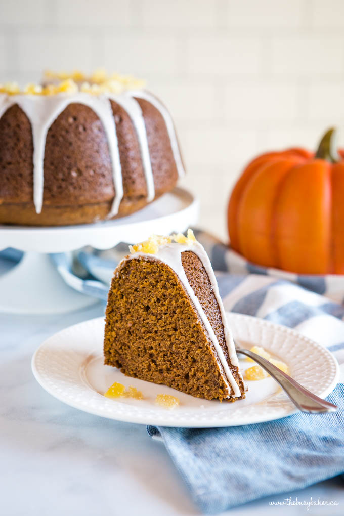 Easy Pumpkin Bundt Cake with white glaze