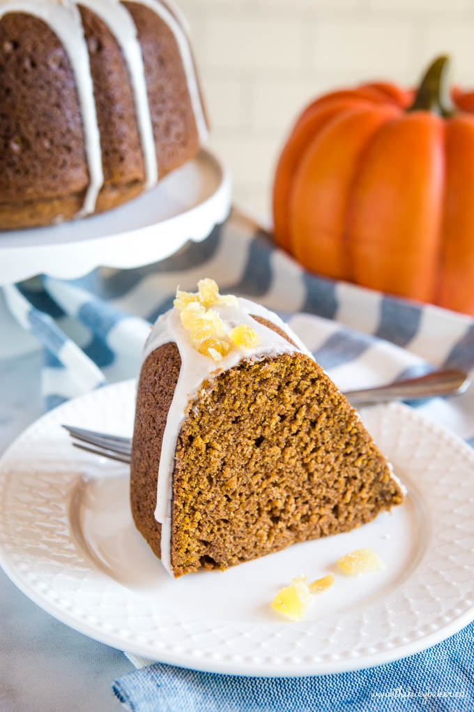 Easy Pumpkin Bundt Cake on white plate