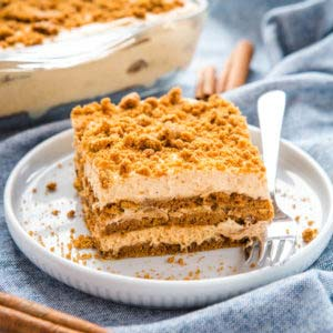 slice of no bake gingerbread pumpkin icebox cake