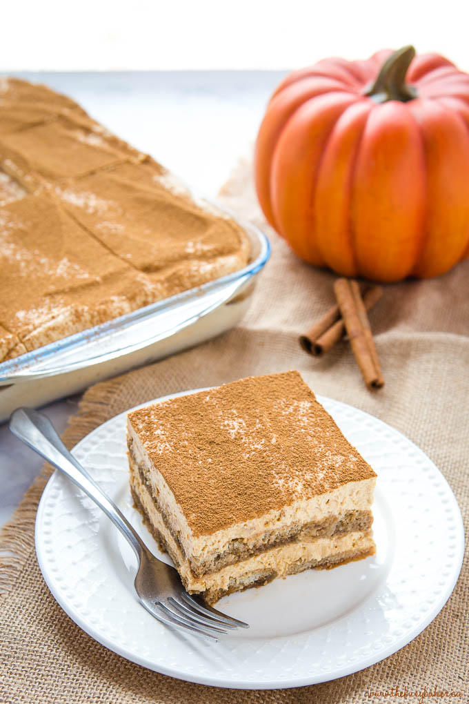 slice of pumpkin spice tiramisu on white plate with pan of dessert behind it