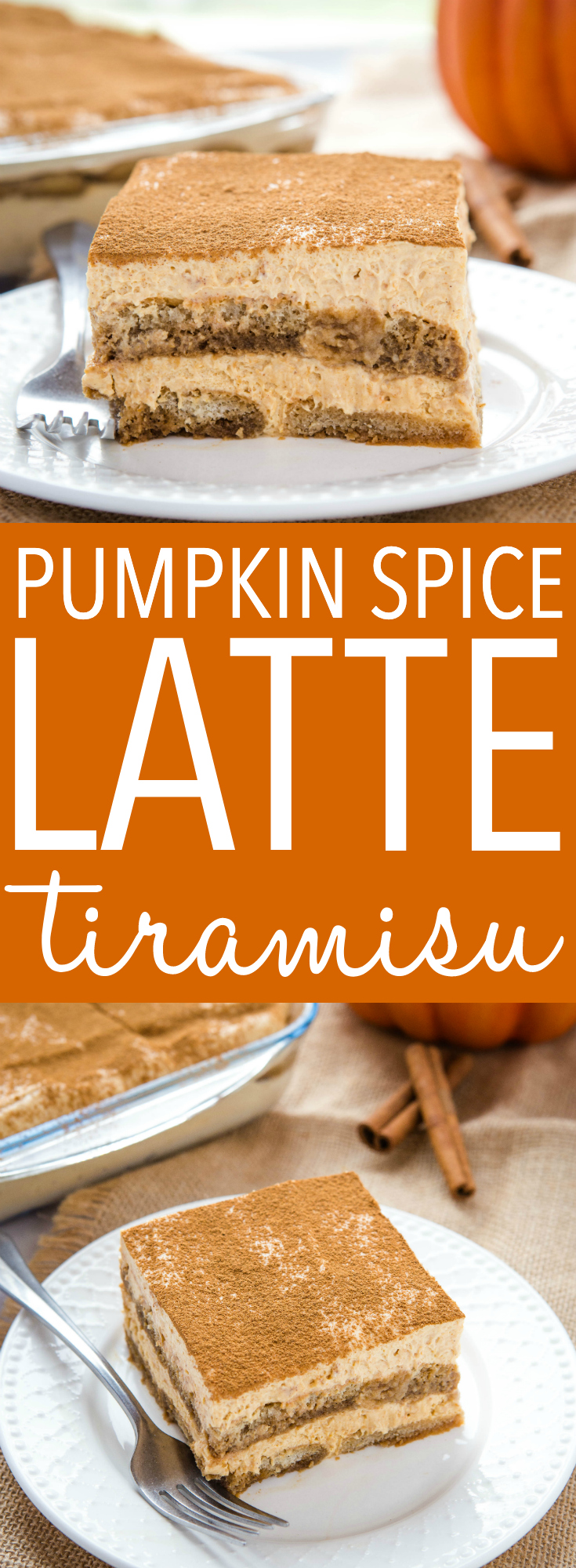This No Bake Pumpkin Spice Latte Tiramisu is the best fall dessert for Thanksgiving! It's easy to make ahead of time, and it's bursting with fall flavours! Recipe from thebusybaker.ca! #tiramisu #pumpkin #spice #latte #pumpkinspicelatte #fall #thanksgiving #christmas #holidays #dessert #sweet #nobake #recipe via @busybakerblog