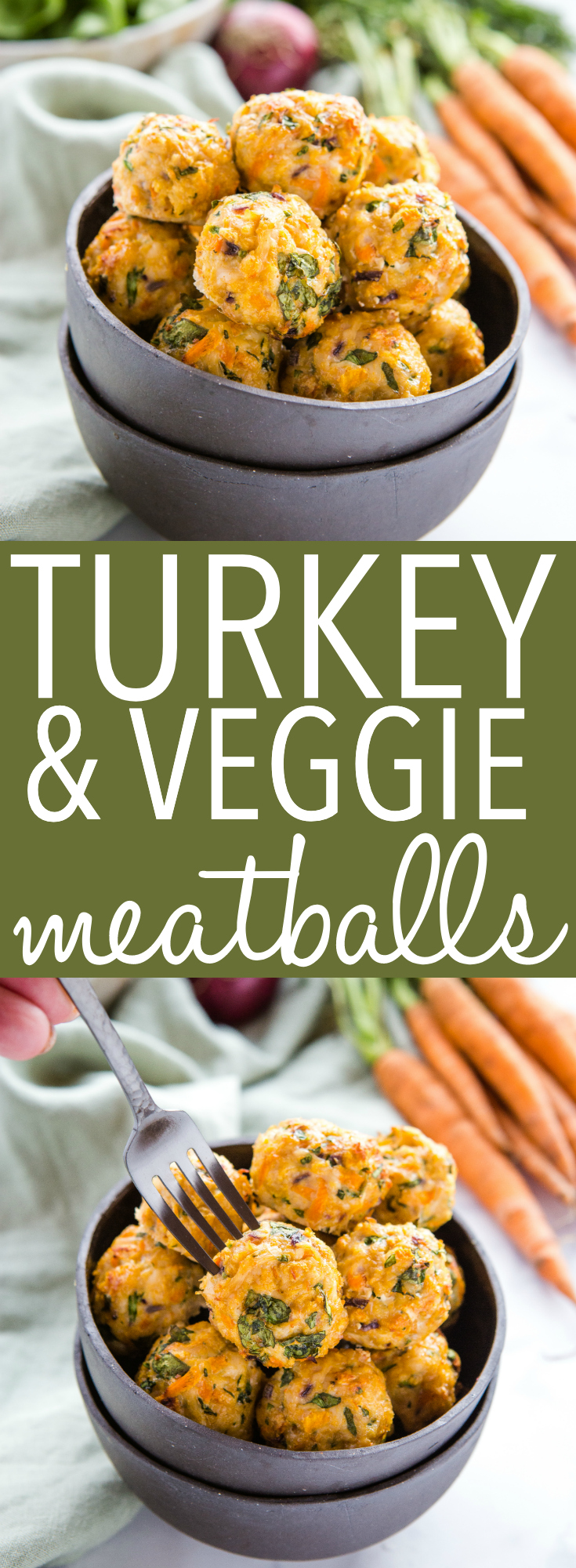 These Easy Turkey Veggie Meatballs are a great healthy alternative for traditional meatballs - made with lean ground turkey and packed with veggies, they're low in fat and calories but high in protein and flavour! Recipe from thebusybaker.ca! #turkey #meatballs #healthy #lowfat #lowcalories #weightloss #diet #mealprep #mealplanning via @busybakerblog