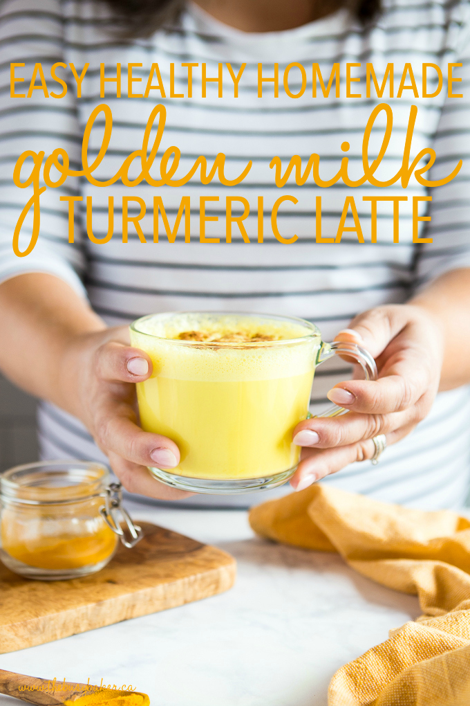 titled photo (and shown): Easy Healthy Homemade Golden Milk Turmeric Latte