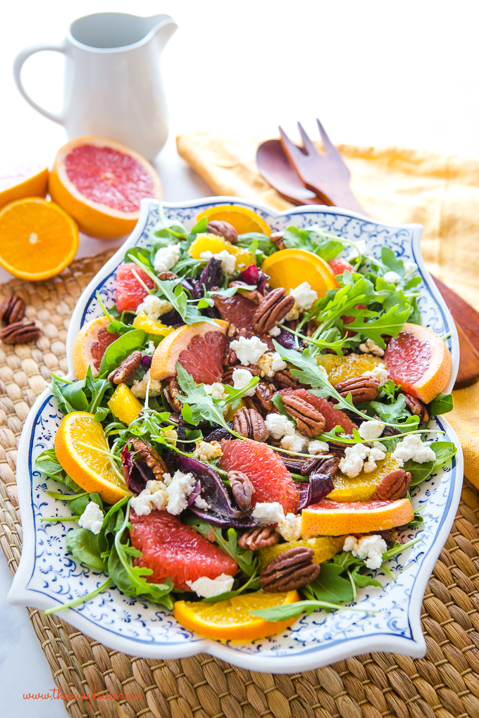 winter citrus salad with grapefruit and orange slices
