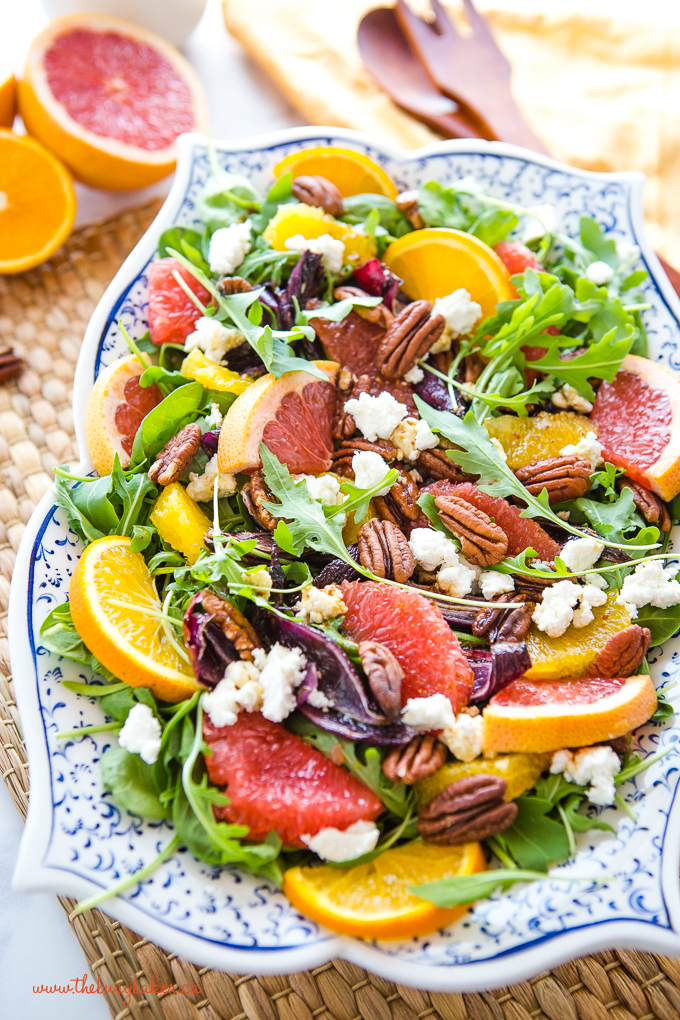 healthy winter citrus salad on pottery platter