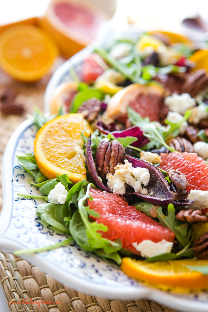 winter citrus salad with arugula, pecans and goat cheese