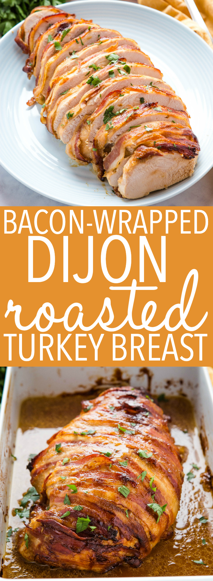 This Bacon Wrapped Dijon Roast Turkey Breast is smothered in a sweet and tangy mustard sauce, wrapped in bacon, and roasted until perfectly juicy! A great alternative to traditional turkey recipes for the holidays! Recipe from thebusybaker.ca! #turkey #thanksgiving #bacon #holidays #christmas #juicy #roastedturkey #roastturkey #dijon #sweetmustard #sauce #recipe via @busybakerblog