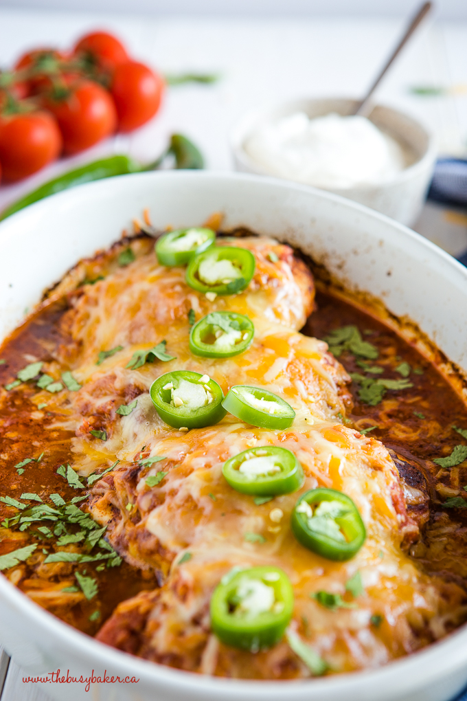 baked salsa chicken with cheese and jalapenos
