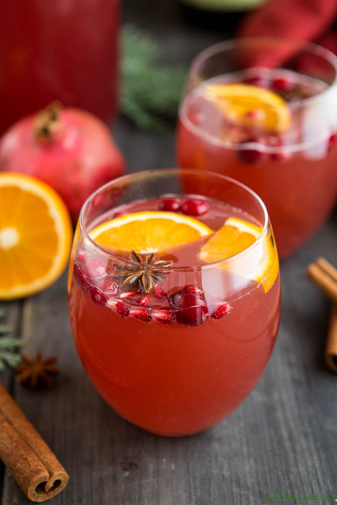 christmas punch in glass