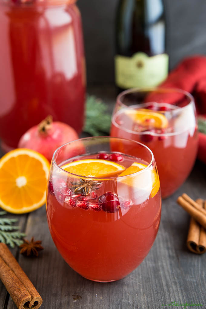 christmas punch with champagne