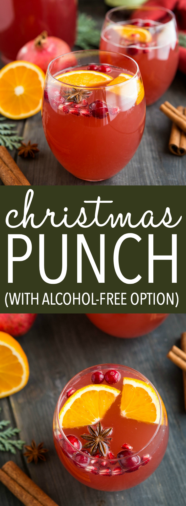 Christmas Punch is the perfect holiday party drink! Packed with fruit flavour and spice, make this recipe with wine, champagne, or alcohol-free. Recipe from thebusybaker.ca ! #christmas #holidaydrinks #thanksgiving #punchrecipe #alcohol #cocktails #alcoholfree #mocktail #kidfriendly #holidaypartyideas via @busybakerblog