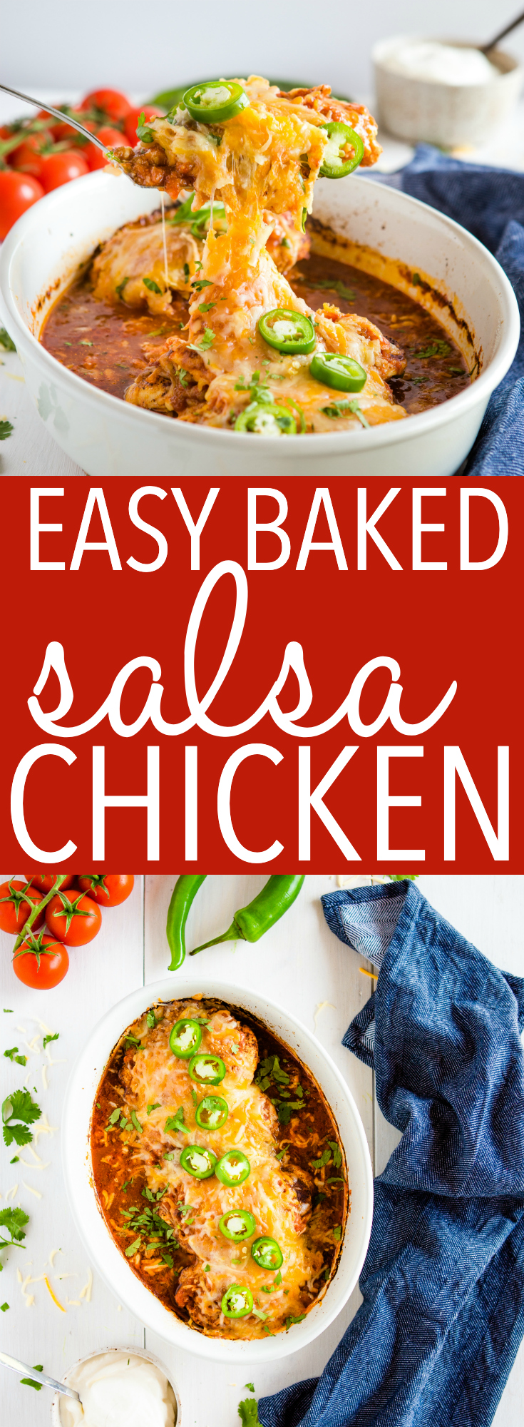 This salsa chicken recipe makes a low-carb Mexican-inspired weeknight meal in one pan! Make this salsa baked chicken in about 30 minutes! Recipe from thebusybaker.ca! #salsa #chicken #mexican #recipe #maindish #lowcarb #keto via @busybakerblog