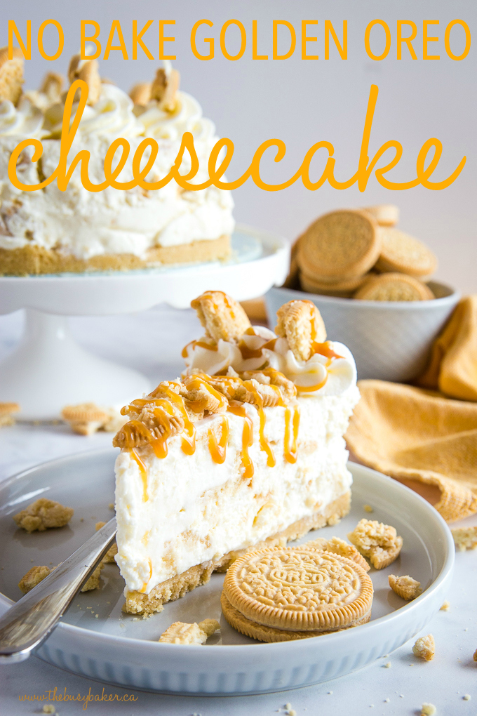 titled photo (and shown) No Bake Golden Oreo Cheesecake