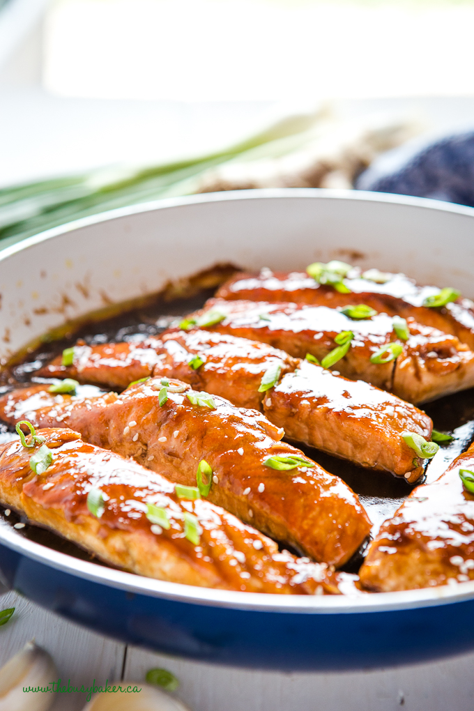 easy teriyaki salmon dinner in skillet on stove