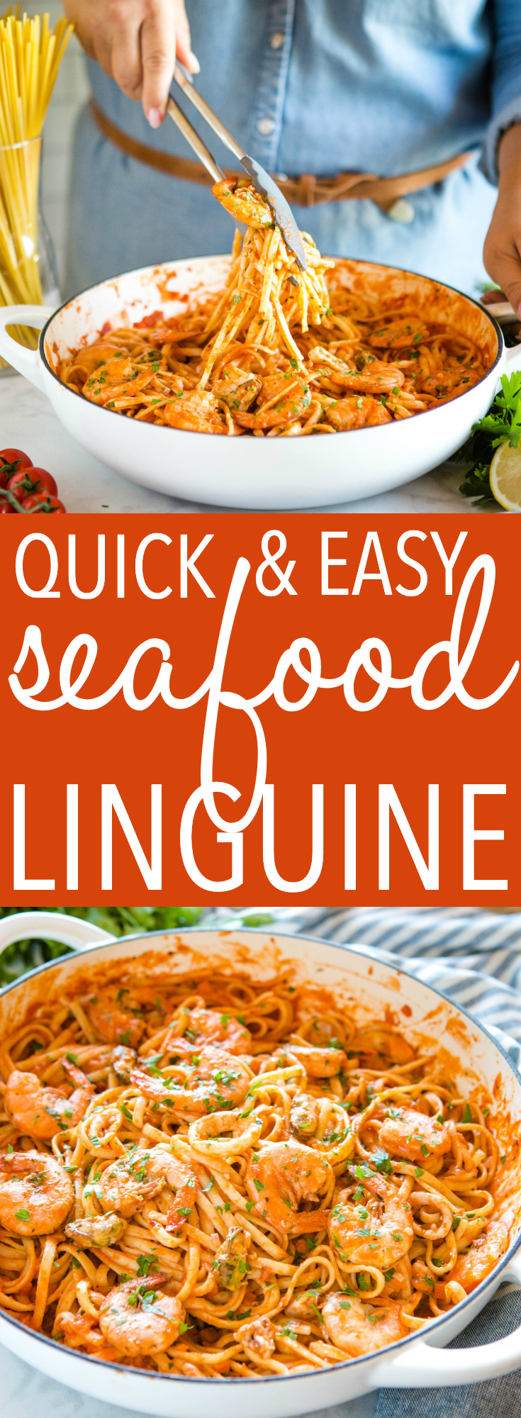 This Quick and Easy Seafood Linguine Marinara is a restaurant-worthy weeknight meal packed with Mediterranean flavour - on the table in 20 minutes or less! Recipe from thebusybaker.ca! #restaurant #weeknightmeal #pasta #seafood #marinara #linguine #simple #easyrecipe #familymeal via @busybakerblog