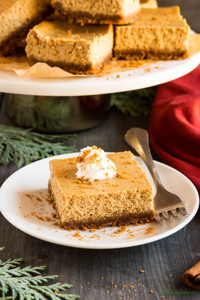 gingerbread cheesecake bars with fork