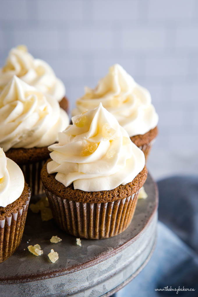 gingerbread cupcakes with cream cheese frosting and candied ginger