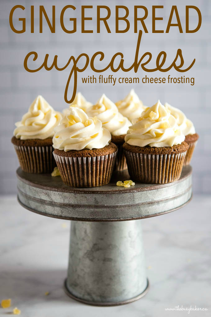 gingerbread cupcakes with fluffy cream cheese frosting