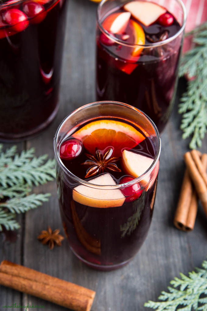 holiday sangria with cranberries and orange slices