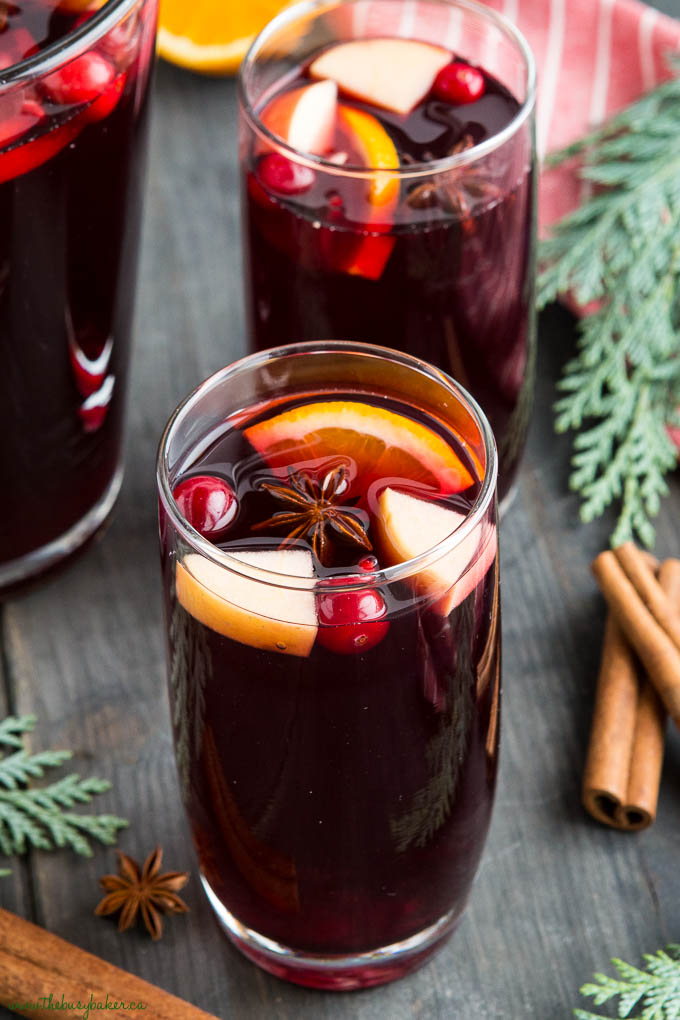 holiday sangria with star anise and orange slices
