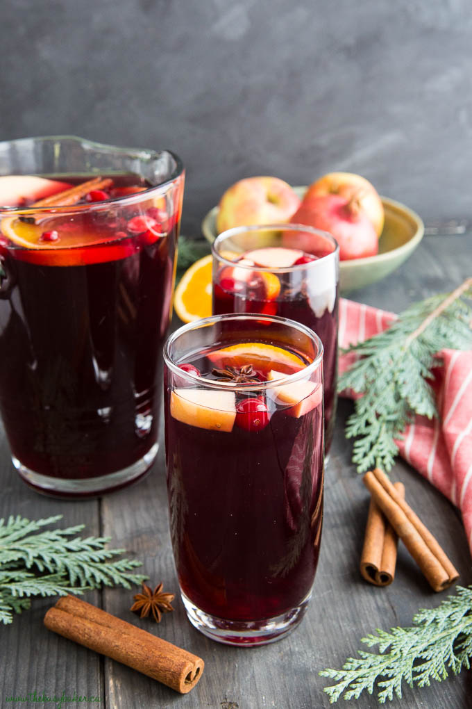 holiday sangria with fruit juice and wine