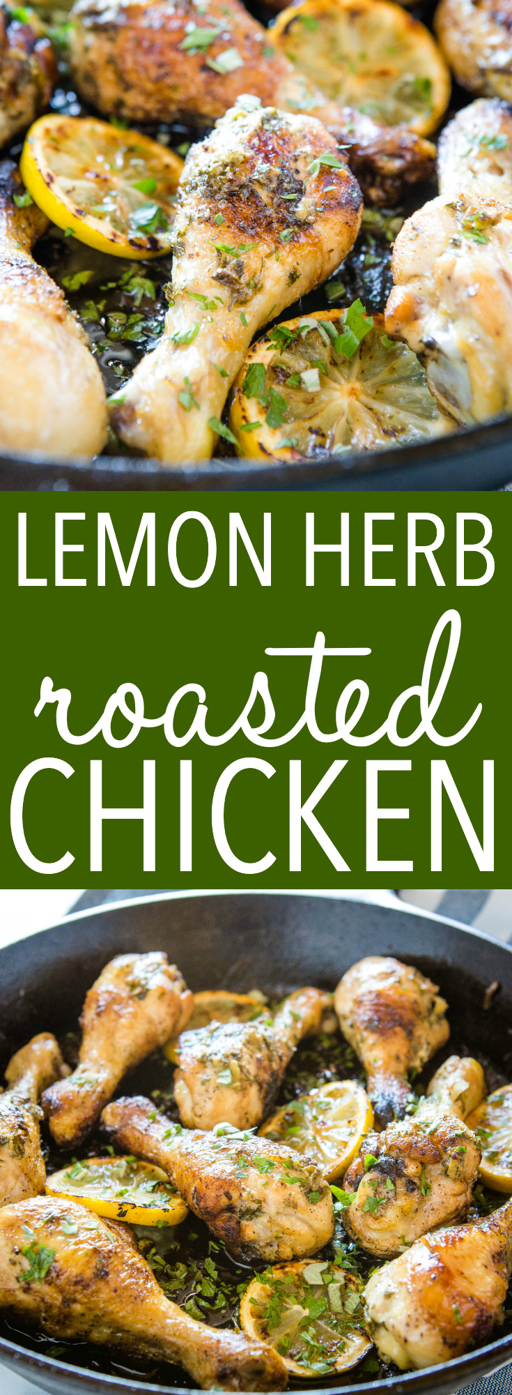 This Easy Lemon Herb Roasted Chicken is a delicious main dish made with a citrus-infused herb butter sauce - on the table in 25 minutes! Recipe from thebusybaker.ca! #chicken #lemon #herb #roasted #castiron #family #meal #mealprep #dinner  via @busybakerblog