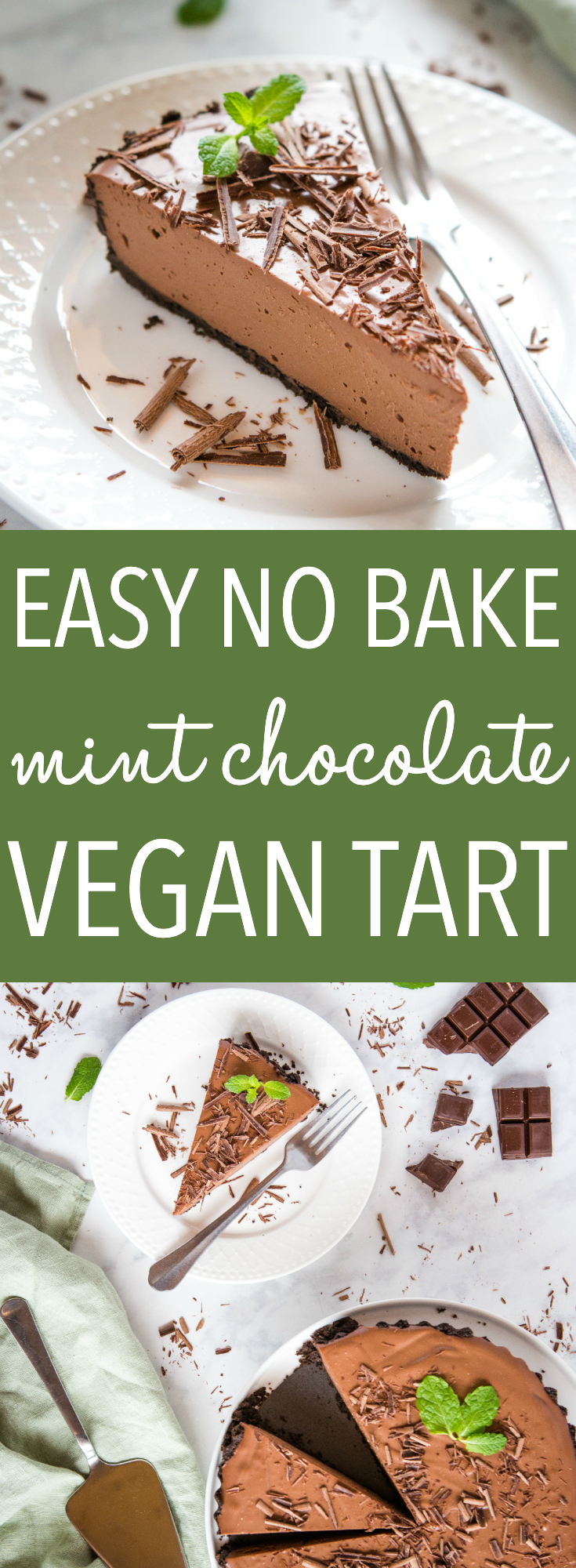 This Best Ever Vegan Peppermint Chocolate Tart is an indulgent dessert with a secret ingredient! It's creamy and indulgent, naturally sweetened, & vegan! via @busybakerblog