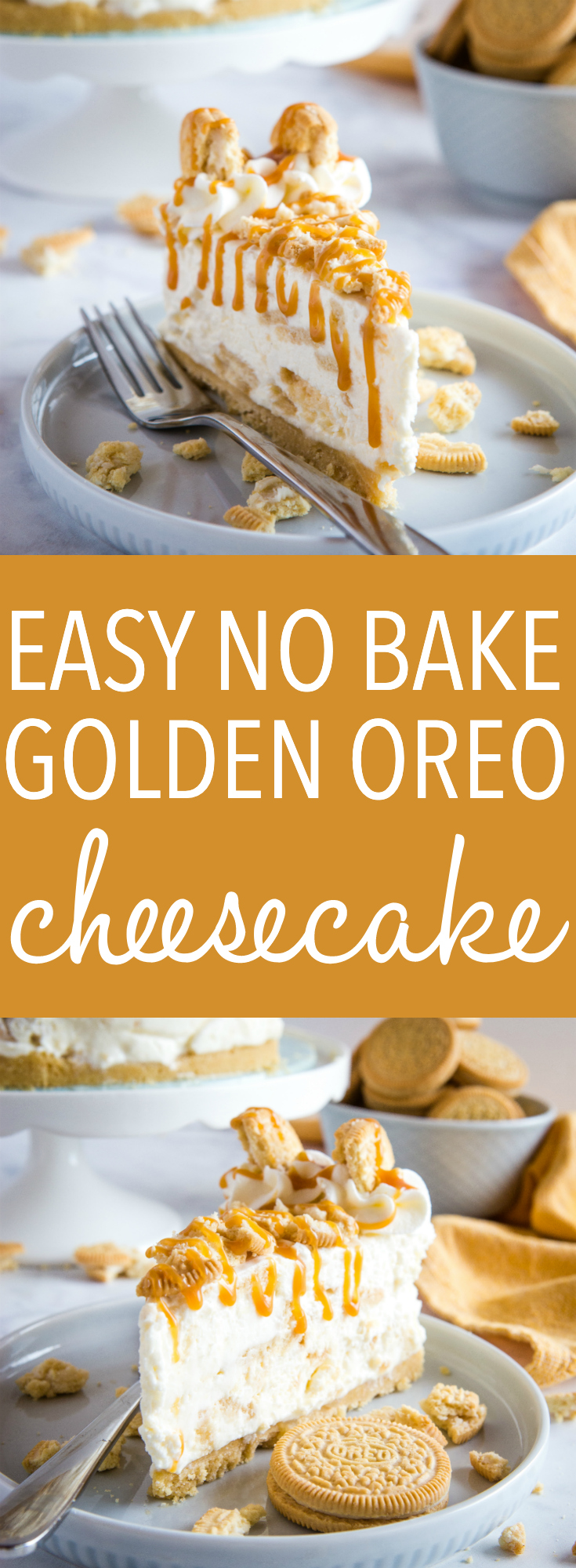 This Oreo cheesecake recipe makes a Golden Oreo cheesecake that's perfect for any occasion! Make this ultra creamy, perfectly sweet, no bake dessert! Recipe from thebusybaker.ca! #goldenoreo #cheesecake #nobake #dessert #sweet #treat #caramel #easytomake #simple #homemade via @busybakerblog