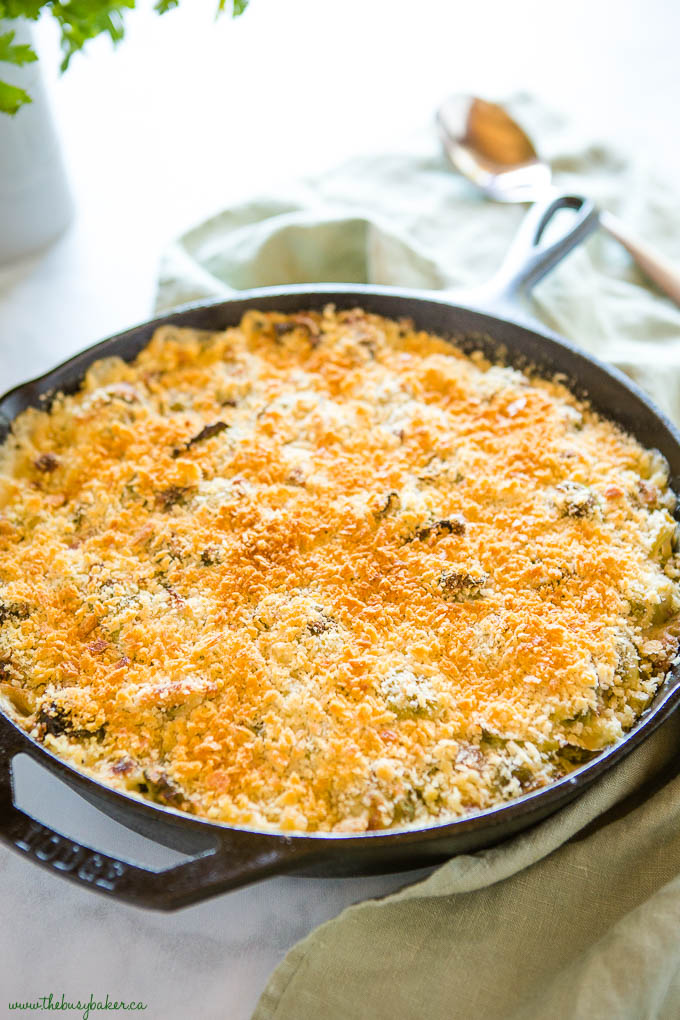 Brussels Spouts Gratin creamy in cast iron pan