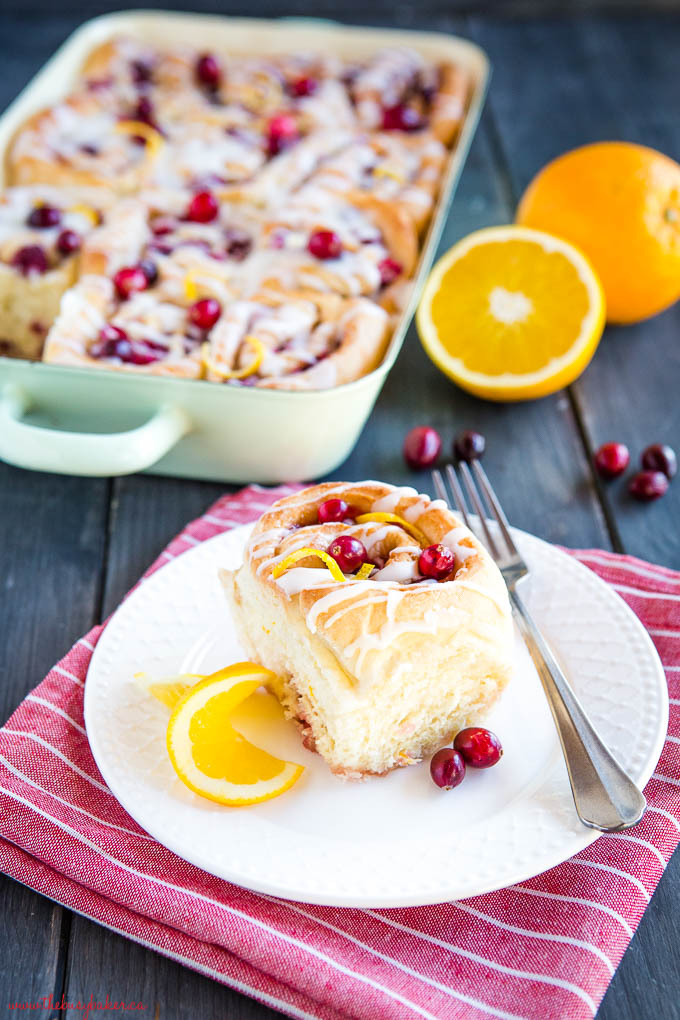 sweet roll for brunch with orange and cranberries