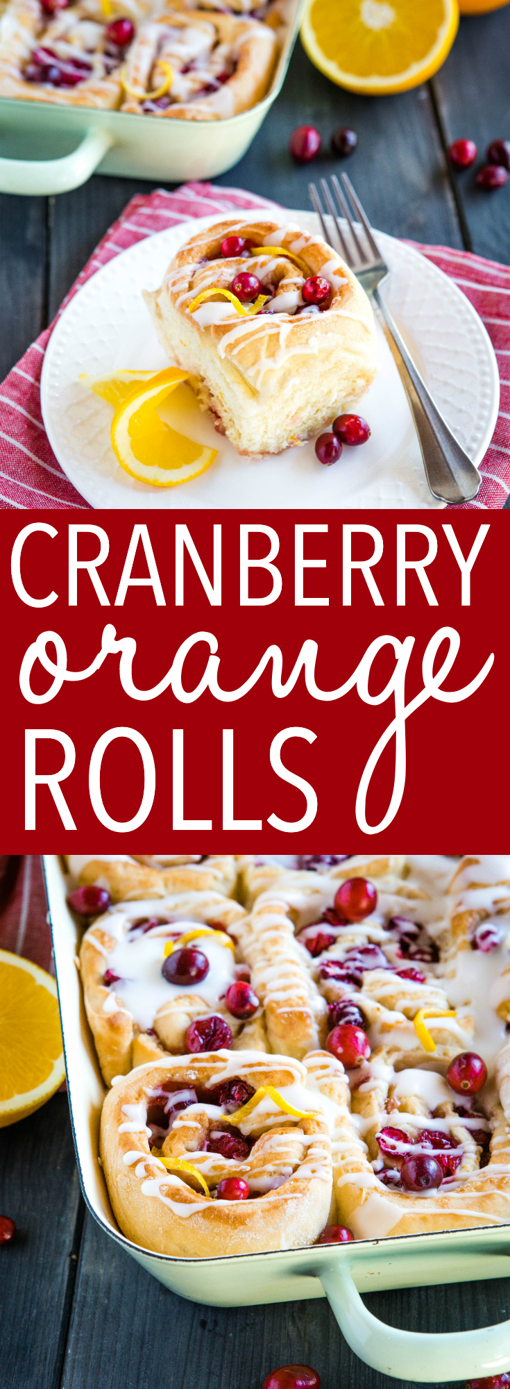 These Cranberry Orange Sweet Rolls are made with a simple sweet dough, fresh oranges and cranberries & an easy orange glaze! Perfect for holiday brunch! via @busybakerblog